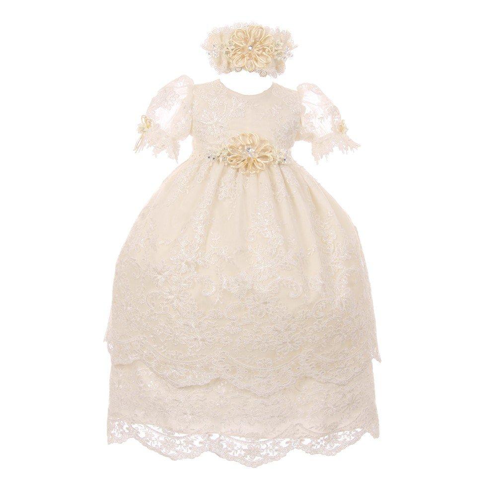 Rain Kids Baby Girls Ivory Puff Sleeve Headband 3 Pc Baptism Gown Set 12M