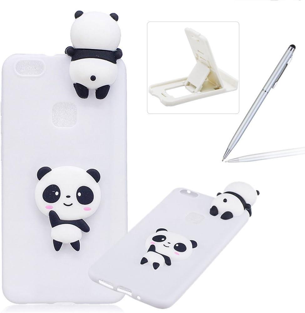 Coque Huawei P10 Lite Silicone, Herzzer Dessin Style Mignon 3D Panda Étui Housse de Protection Soft Doux TPU Gel Backcover Ultra Mince Léger Flexible ...