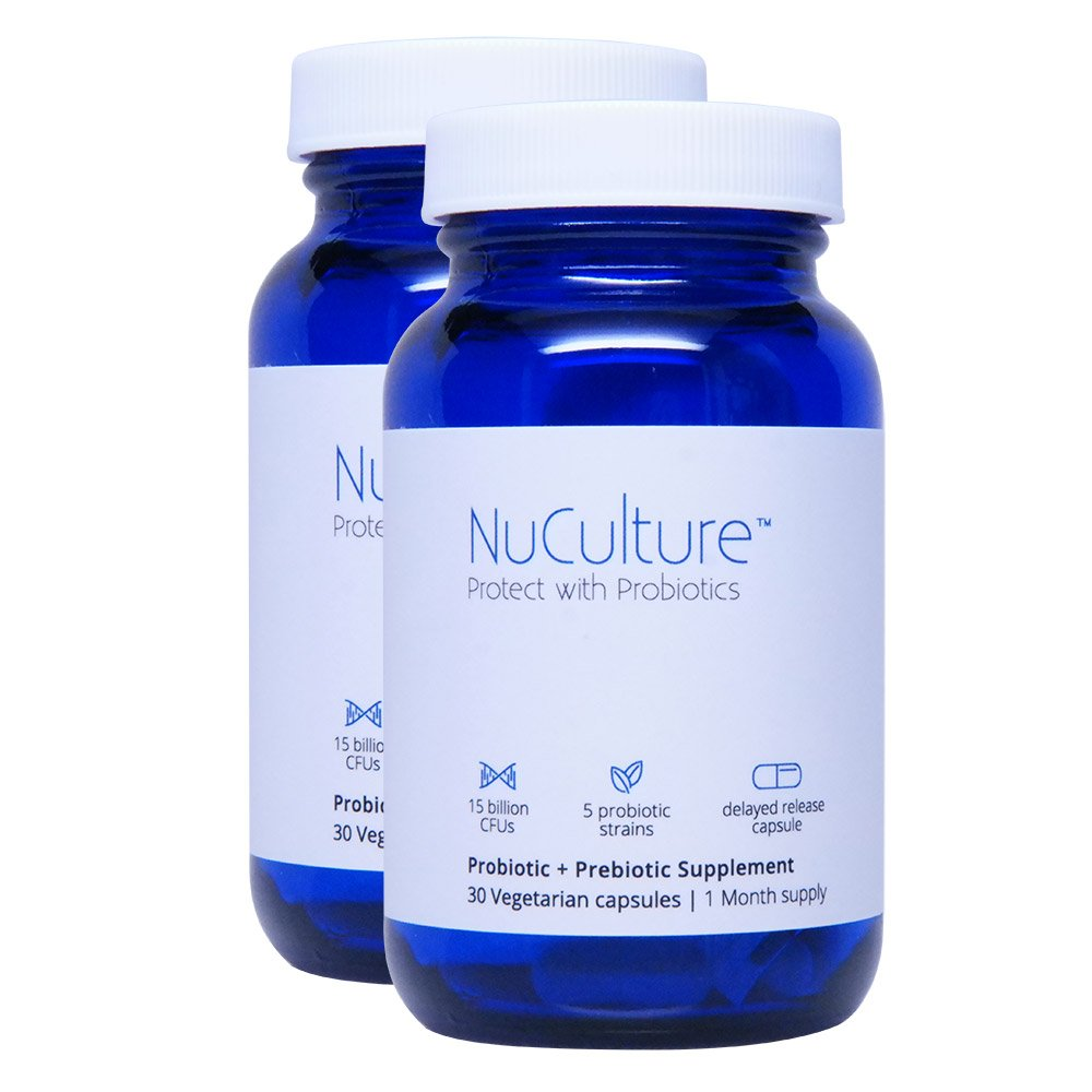 NuCulture Probiotics: NEW #1 BEST Probiotic with Patented Prebiotic Booster, Time Released, Easy to Swallow, Once Daily Capsules, 30 Day Supply with 100% moneyback guarantee