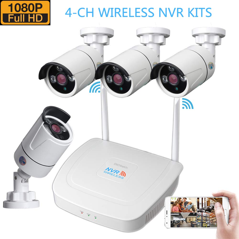Wireless Security Camera System, 1080P 4CH NVR Surveillance System and 1080P Wireless Surveillance Cameras IP66 Waterproof WiFi Transmission Distance up to 600m