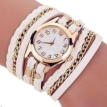 AIUIN 1X Reloj de Pulseras Cuarzo Accesorios Retro de Metal Correa de Cuero para Mujer Multicapa Relojes de Pulseras,Blanco: Amazon.es: Deportes y aire ...