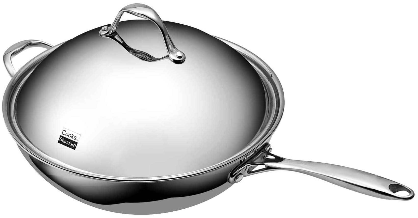 Cooks Standard 13-Inch Multi-Ply Clad Stainless Steel Wok Stir Fry Pan with Dome Lid by Cooks Standard (Image #5)