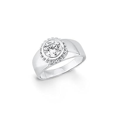 39b2f6e66b84 s.Oliver Damen-Ring 9 mm 925 Silber rhodiniert Zirkonia weiß  Amazon.de   Schmuck