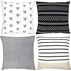 "Decorative Throw Pillow Covers For Couch, Sofa, or Bed Set Of 4 18 x 18 inch Modern Quality Design 100% Cotton Stripes Geometric ""Atlas Set"" by Woven Nook"