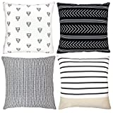 Decorative Throw Pillow Covers For Couch, Sofa, or Bed Set Of 4 18 x 18 inch Modern Quality Design 100% Cotton Stripes Geometric ''Atlas Set'' by Woven Nook