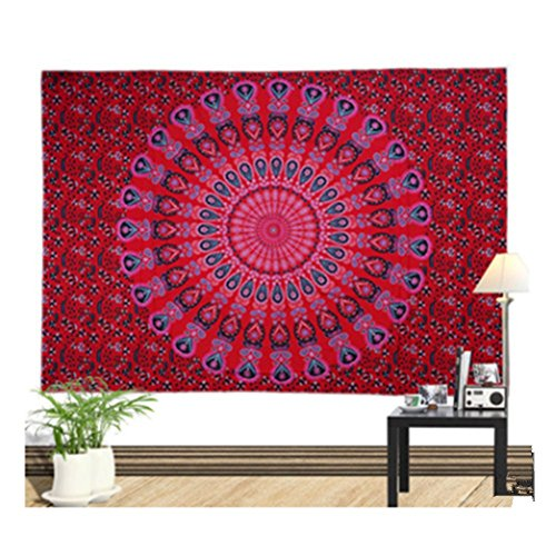 Colored Tapestry (Peacock Tapestry Colored Printed Decorative Mandala Indian Wall Hanging(6052 inches approx) by Einfachheit (red))