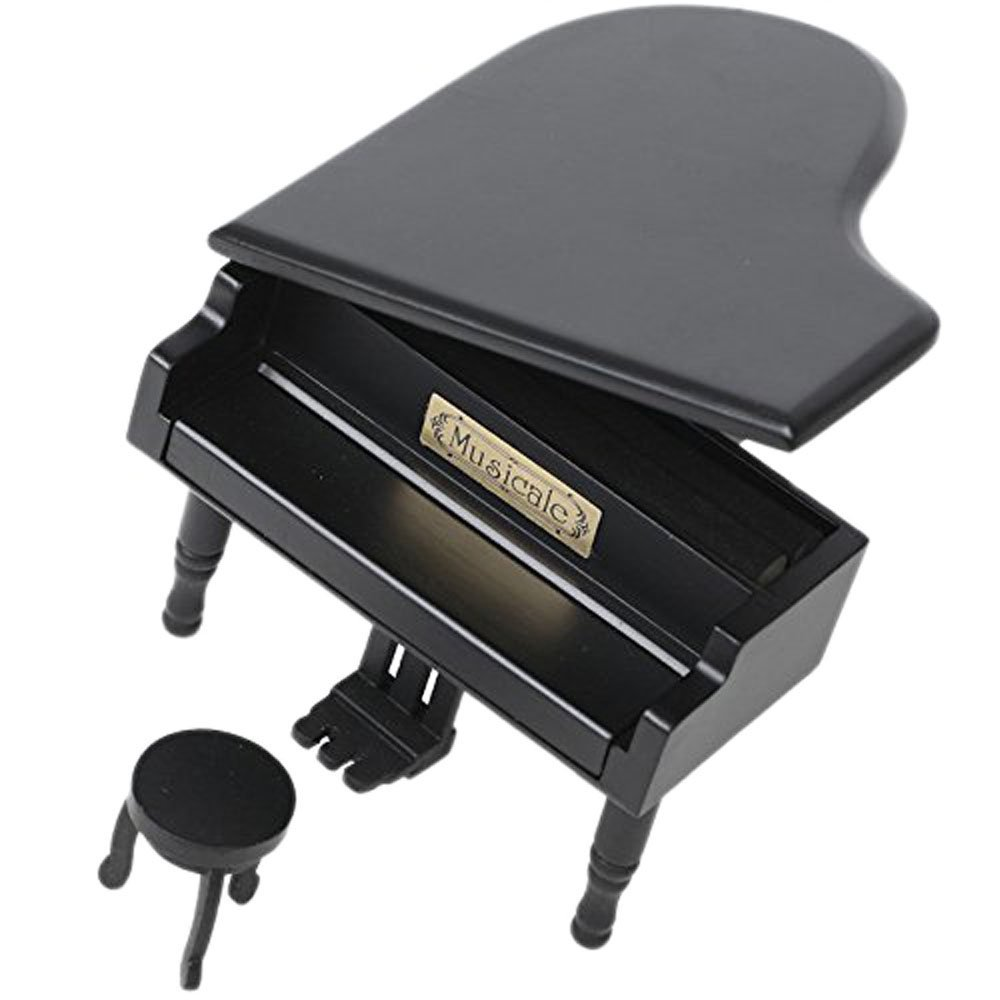 Retro Wind-Up Wooden Piano Musical Box, Wooden Simulation Gift Music Box, Canon In D Musical Box, with Silver-plating Movement in, Black