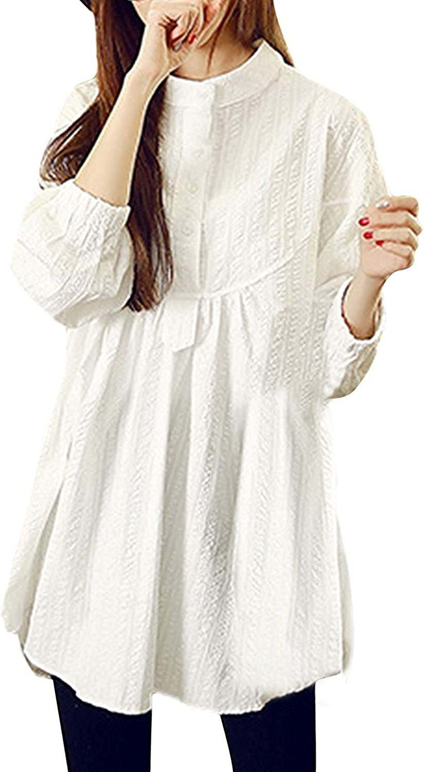 LOKOUO Womens White Buttoned Long Sleeve High Low Dress Blouse
