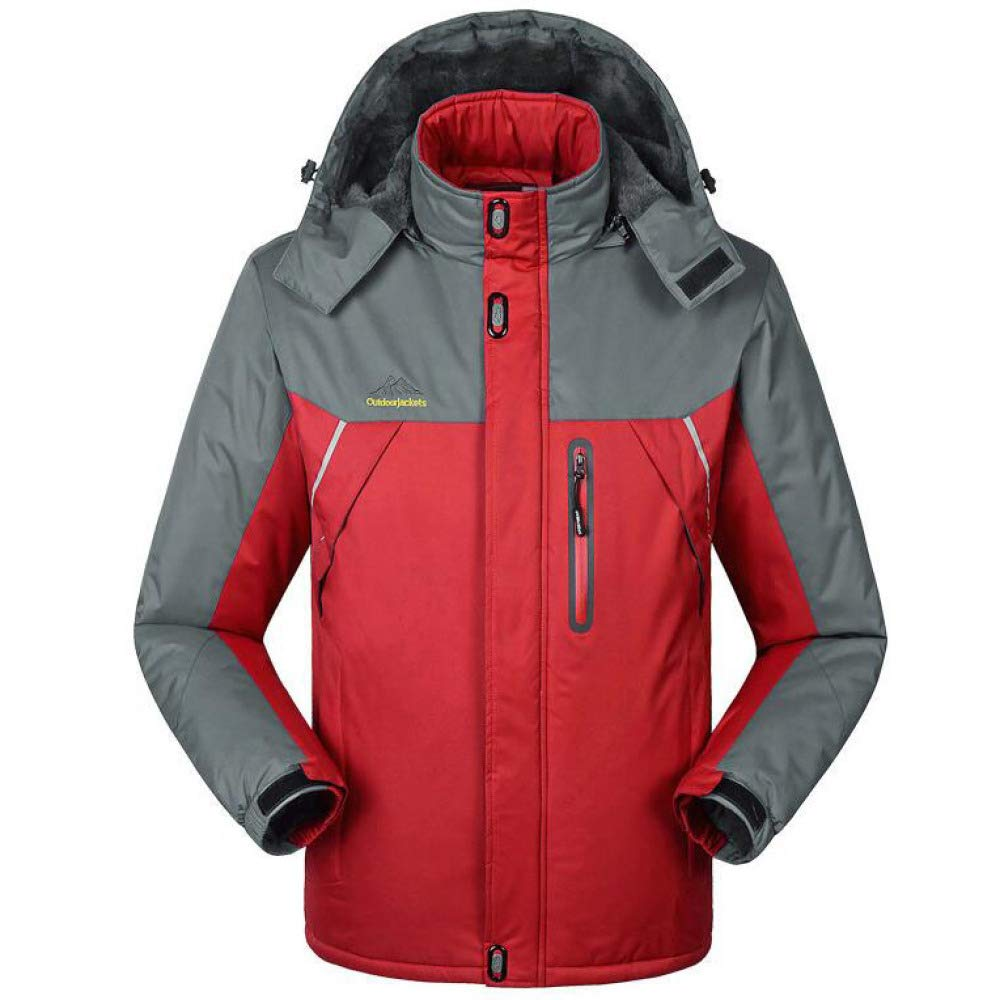 DFUCF Mens Plus Size Outdoor Coat Waterproof Winter Jacket with Detachable Hood