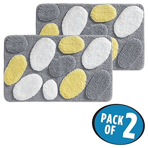 mDesign Soft Microfiber Polyester Non-Slip Rectangular Spa Rugs, Plush Water Absorbent, Pebble Design - for Bathroom Vanity, Bathtub/Shower, Machine Washable - 34