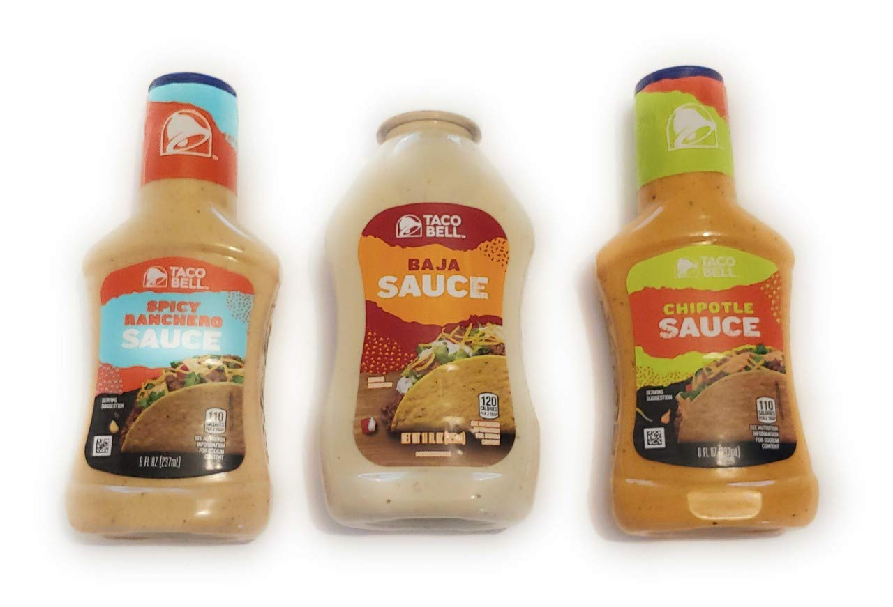 Taco Bell Sauce Bundle, One 11 Oz Baja Rosa, One 8 Oz Spicy Ranchero, and One 8 Oz Bottle of Chipotle. Try all three