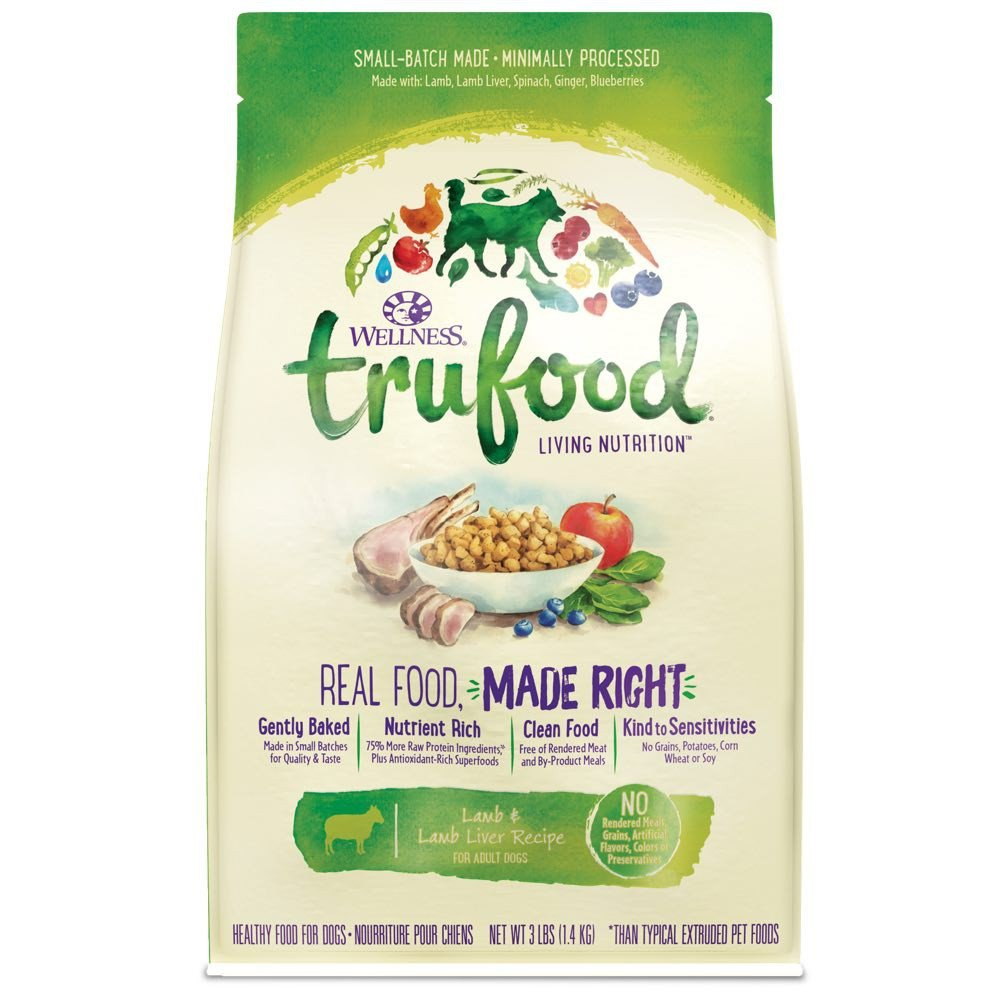 Wellness TruFood Baked Blends Natural Grain Free Dry Dog Food, Lamb Chickpeas and Turkey Liver Recipe, 18-Pound Bag