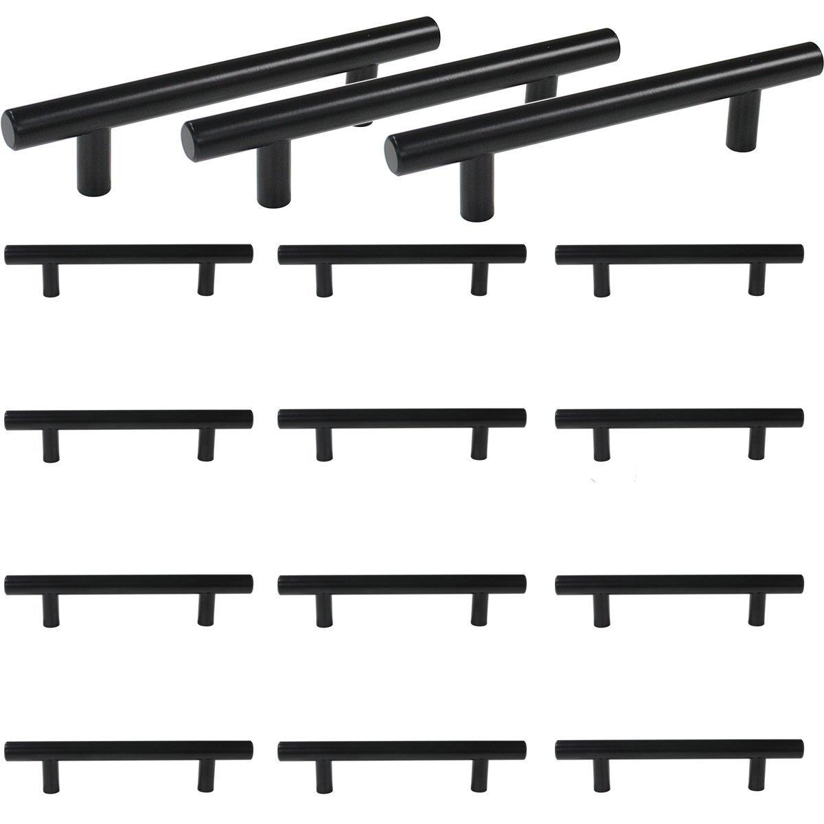 Margueras Tirador negro en forma de T para cocinas, armarios, puertas, cajones, dormitorios, muebles, de acero inoxidable, distancia entre orificios de 96 mm, 20 unidades