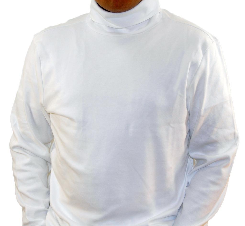 Off-White Men's Combed Cotton Euro Design Ski Casual Turtleneck (Large)