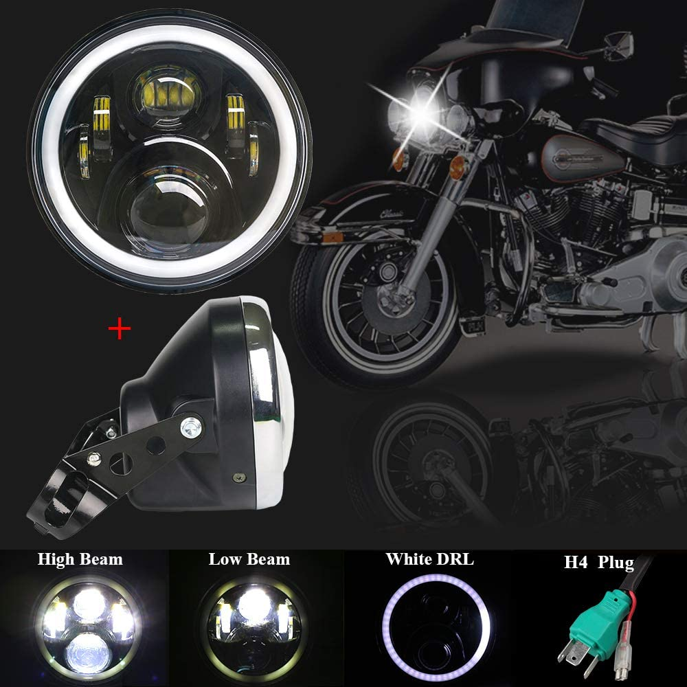 "Motorcycle 7/"" Inch HeadLight Lamp Bulb Bucket Housing with bracket"