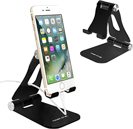 Pad All Smart Phone Black Adjustable Cell Phone Stand Tablet Stand Holders Phone Holder Multi-Angle Foldable Aluminum Desk Stand for Universal Cell Phone