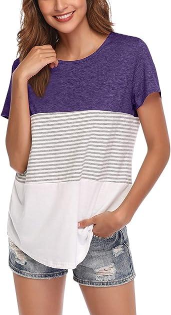 ZENNILO Womens Short Sleeve T Shirt Round Neck Triple Color Block Stripe Tunic Tops