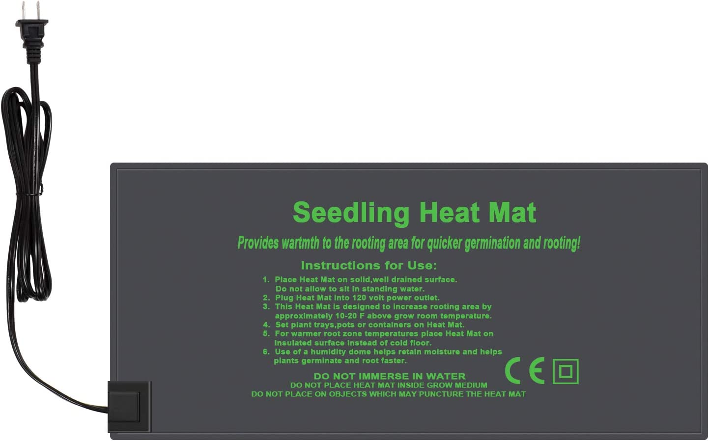KORAM Seedling Heat Mat Durable Waterproof Hydroponic Heating Pad Warm Germination Station Heat Mat for Indoor Home Gardening Seed Starter 10 x20
