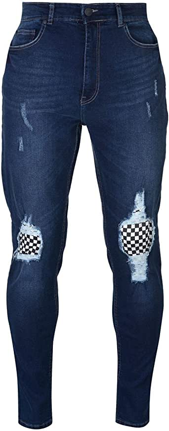 No Fear Check Knee Jeans Mens Skate Clothing Pants Trousers Bottoms Dark Wash 34W Reg