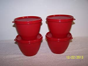 Tupperware Refrigerator Bowls Set of 4 Red