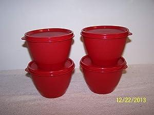 Tupperware Refrigerator Bowls Set of 4 Red