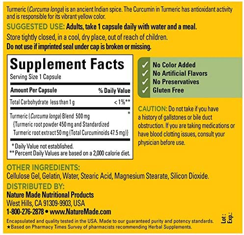 Nature Made Turmeric Curcumin 500 mg Capsules, 120 Count for Antioxidant Support 5