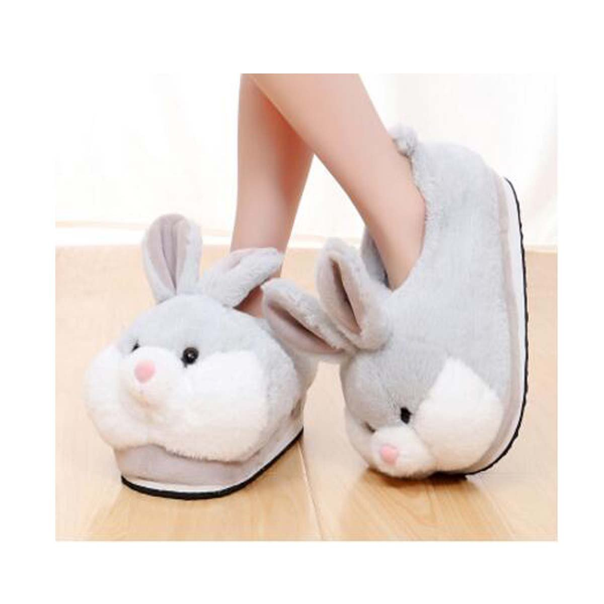 Cute bunny slippers, winter home warm slippery cotton slippers