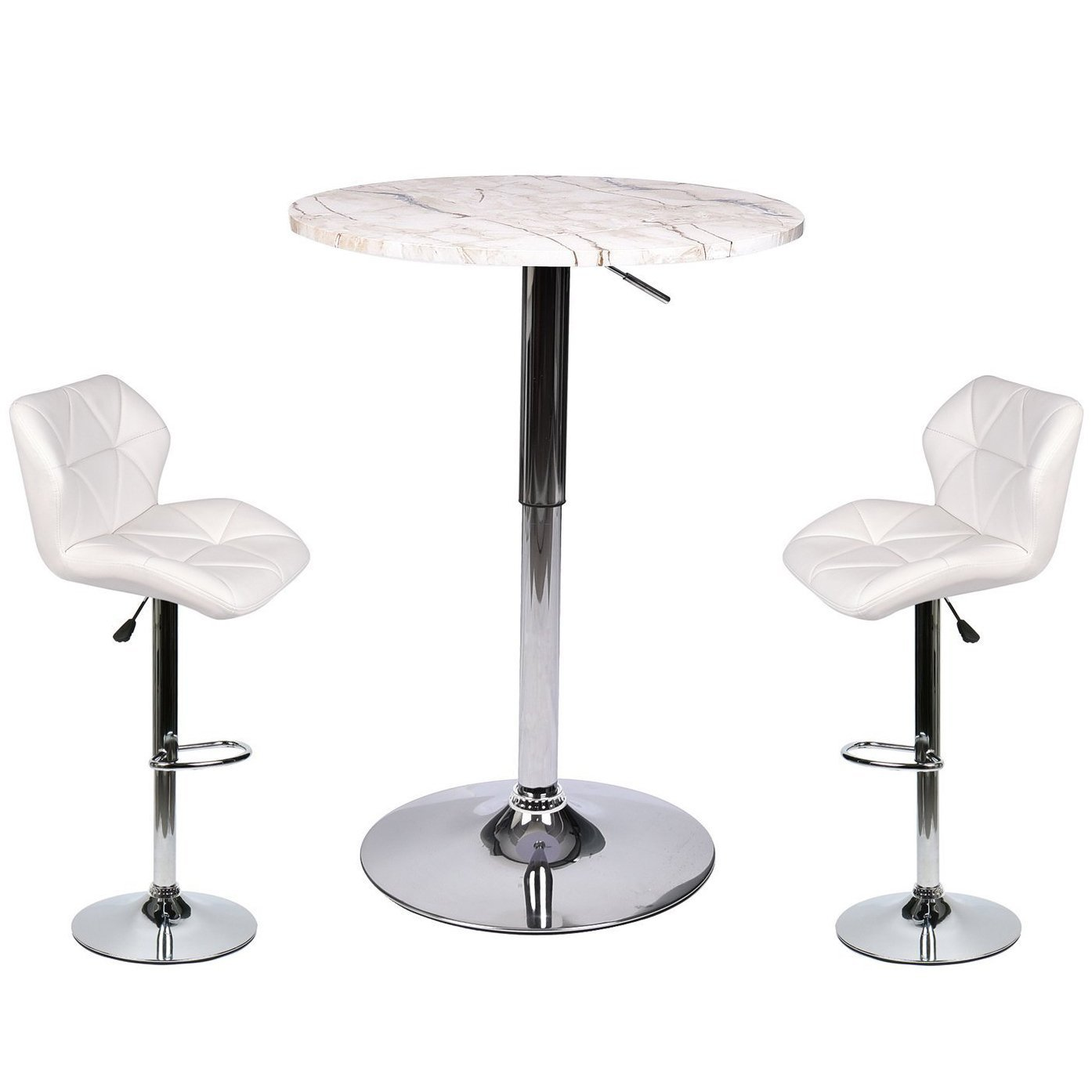 Modern Bar Table with Round Top with 2 Adjustable PU Leather Stools Set - 3 Piece Pub Dining Kitchen Furniture (White 3)