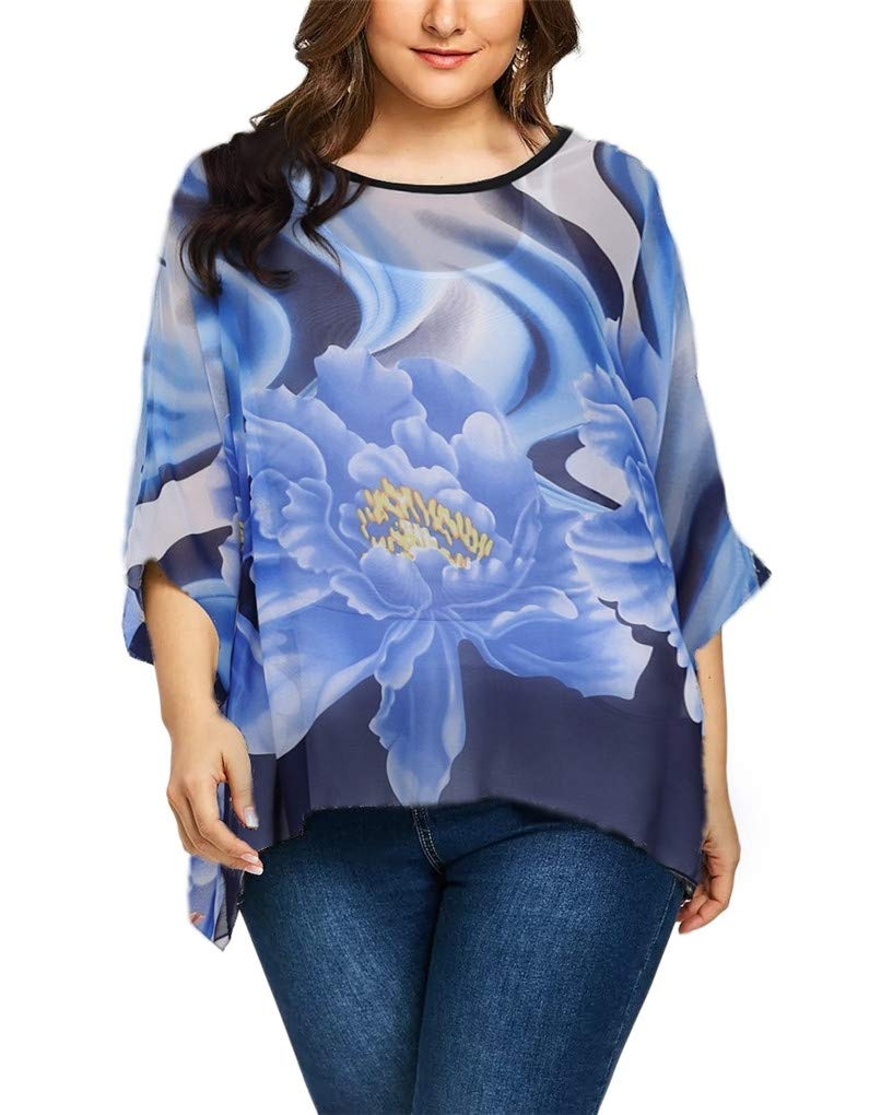 Fendxxxl Women's 2018 Summer Loose Casual Batwing Tops Chiffon Blouse Floral Shirt Tunics 4296