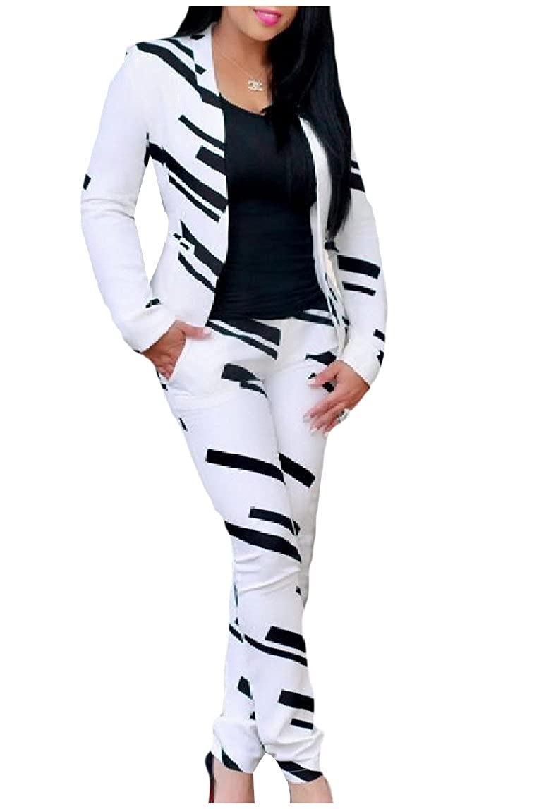 RDHOPE-Women Elegant Floral Printed Bodycon Jacket and Pant Suit