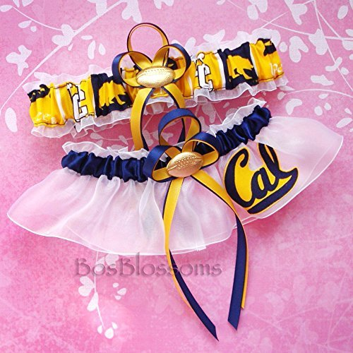 - Customizable - UC Berkeley California Golden Bears fabric handmade into bridal prom white organza wedding garter set with your choice charms of footballs basketballs baseballs hearts or rhinestones