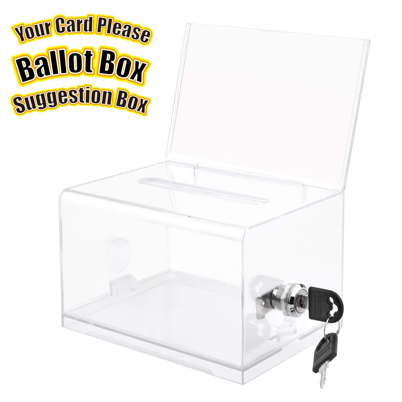 MaxGear Acrylic Donation & Ballot Box with Lock (6.25'' x 4.5'' x 4'') - Clear