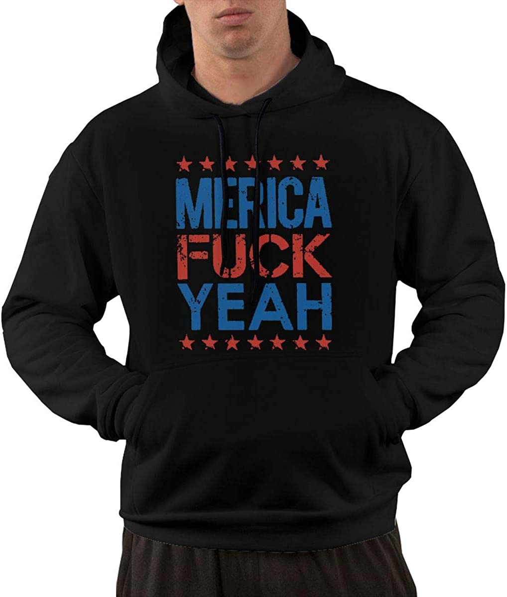 HAOTOKA Fuck Yeah Merica Mens Hoodie Pullover with Pocket Fashion Colored Rope Sweatshirt