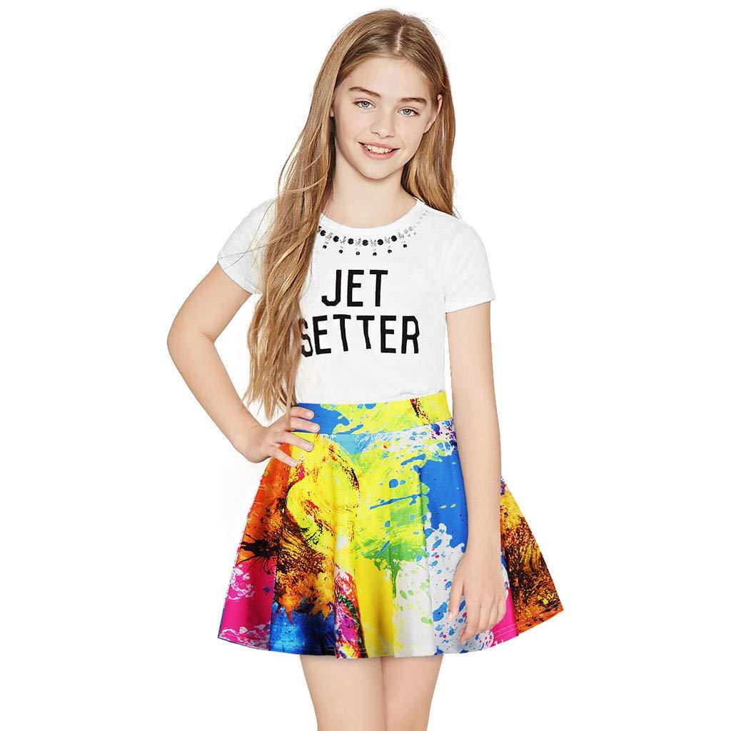 NUWFOR Toddler Kids Girl Galaxy 3D Digital Printing Princess Casual Pleated Tutu Skirt(Multicolor,7-8 Years)