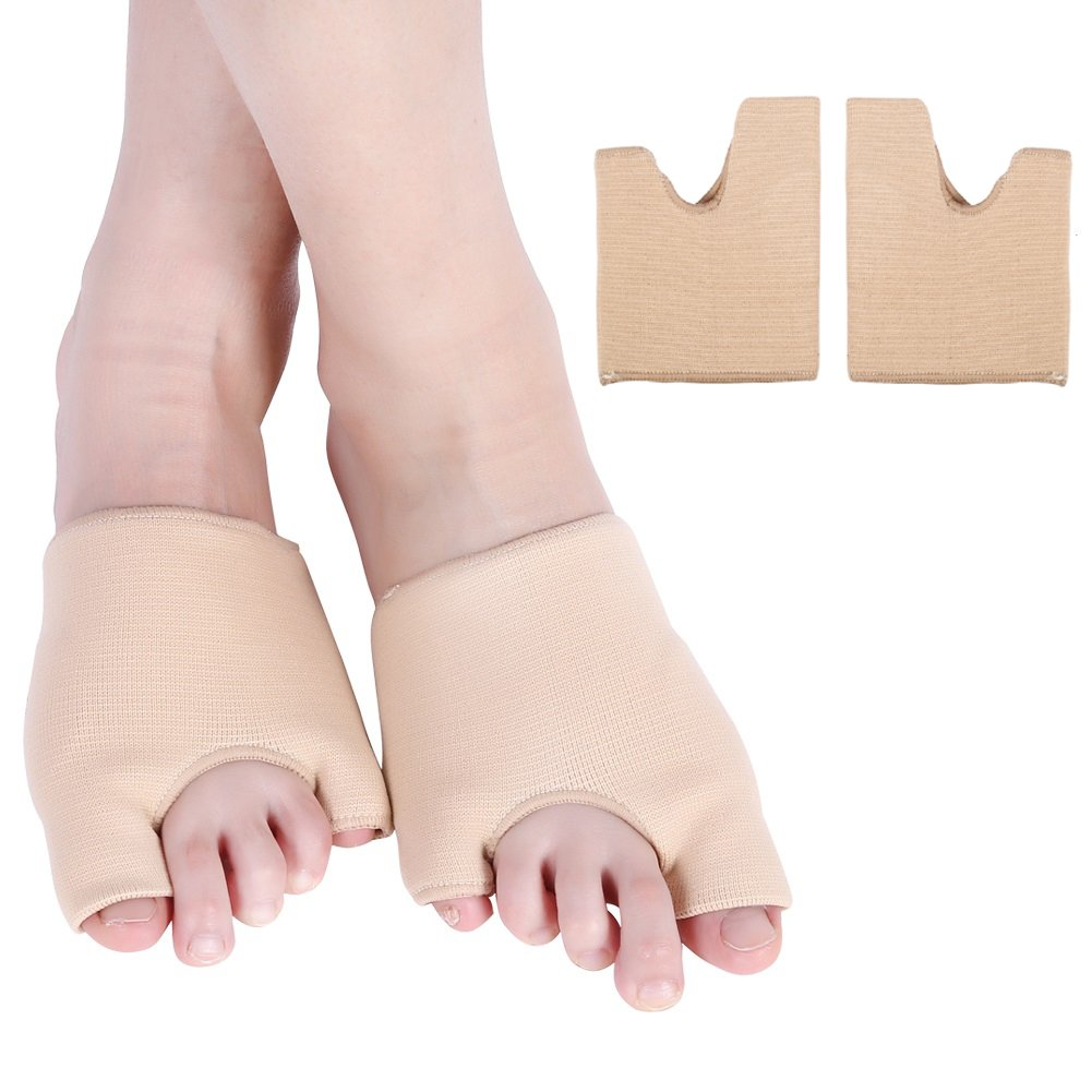 2 Pair Hallux Valgus Correctors Separator, Half Sockes Relief for Bunions on the Big and Little Toe Simultaneously (L)
