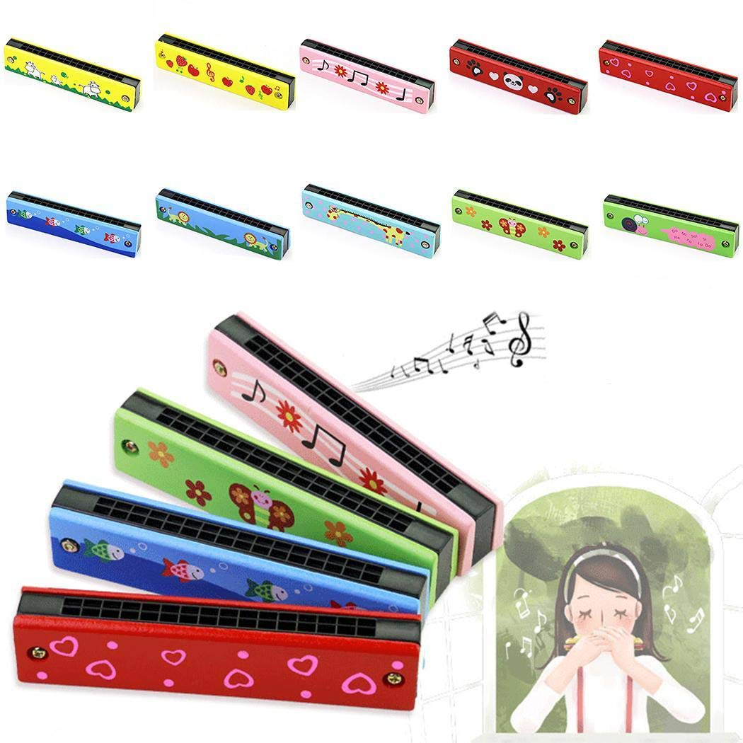 Piokikio Wooden Children Harmonica Instruments Early Education Parent-child Teaching Aids Harmonica