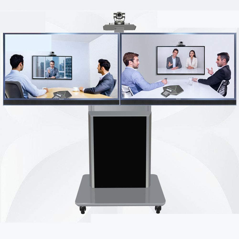 デュアルスクリーンローリングテレビスタンドモバイル Tv カート、32-65 インチ LED LCD プラズマテレビフラットパネルディスプレイワイヤ管理360°回転ベッドルーム教室会議室ビデオ通話