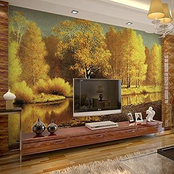 HUANGYAHUI Wandbilder 3D Landschaft Creek Restaurant Hintergrund Wand  Papier Tapeten Öl Malerei Vliesstoffe Nahtlose Wandbilder