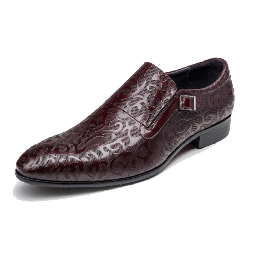 Männer Lederschuhe Business Casual Gummi Breathable Komfortable Broch Carved WineROT