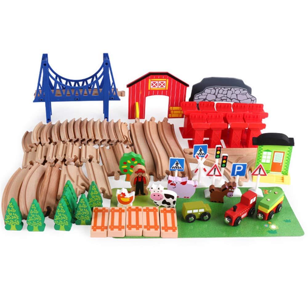 Uiophjkl Bausteine Holz Eisenbahn Spur Set Spielzeug Und Bauernhof Tier Szene Bausteine  ausatz Spielzeug Multi Modell fürways (82 Stücke)
