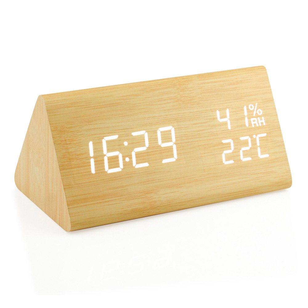 Oct17 Wooden Alarm Clock, Wood LED Digital Desk Clock, UPGRADED With Time Temperature, Adjustable Brightness, 3 Set of Alarm and Voice Control, Humidity Displaying - Bamboo