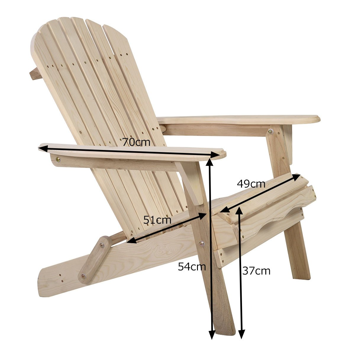 Costway Adirondack Chair Foldable Wood Seat Furniture Deck Lawn Garden Patio Outdoor (Style A)