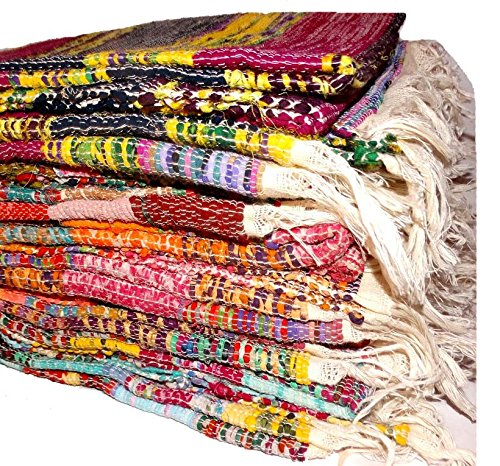 - Lot Of 2 PC's Hand loomed Rag Rug , Vintage Throw, Handwoven Sari Rug , Chindi Rug Carpet ,Decorative Multi color Yoga mat.