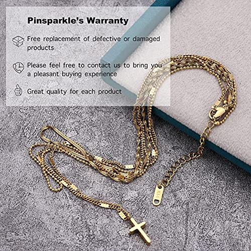 Pinsparkle Cross Necklaces For Women Men Layered Cross Necklace Dainty Necklace 14K Gold Plated Cross Chain