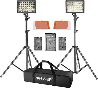 Neewer LED Video Luz Kit con 190cm Soporte Luz 2-Pack Regulable 3200K 5500K 160 LED Kit Iluminación de Foto Luz Panel con Batería de Cargador para Youtube Estudio Fotografía: Amazon.es: Electrónica