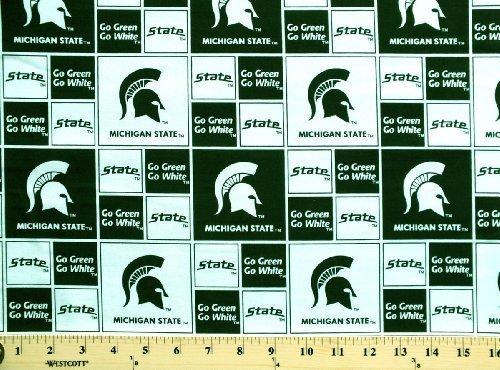 University Cotton Fabric - Cotton College Michigan State University Spartans 020 Print Cotton Fabric By the Yard