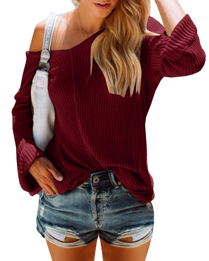 PiePieBuy Women's Casual V Neck Long Sleeve Lightweight Loose Knit Pullover Tops Sweater Jumper (L, Wine Red)