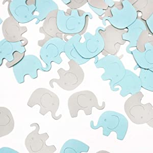 Blue Elephant Confetti Elephant Scatter Baby Shower Decoration for Boy Baby Shower Birthday Party Elephant Theme Party Supplies Gender Reveal Party Decoration (Blue+Gray) 100 Pcs