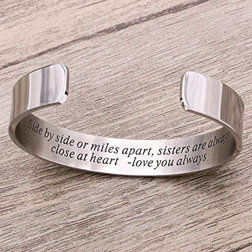Side By Side Or Miles Apart Bracelet Stainless Steel . Sister to Sister Gift ,Maid of Honor Gift / Bridesmaids Gifts (White) by Melix Home (Image #1)