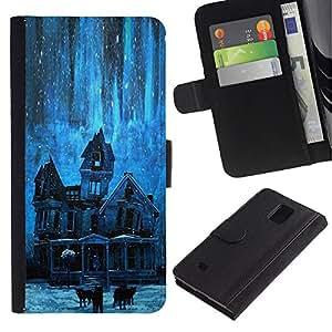 APlus Cases // Samsung Galaxy Note 4 SM-N910 // Casa estrellas noche frecuentado espeluznante azul // Cuero PU Delgado caso Billetera cubierta Shell Armor Funda Case Cover Wallet Credit Card